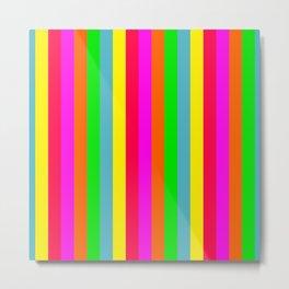 Neon Hawaiian Rainbow Cabana Stripes Metal Print