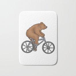 Bear On A Bike Funny Fitness Gift for Bear Lover Bath Mat
