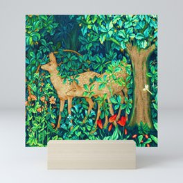 Art Nouveau Forest Deer Tapestry Print Mini Art Print