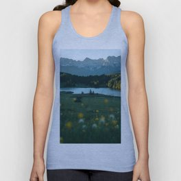 Sunrise at a mountain lake with forest - Landscape Photography Unisex Tank Top