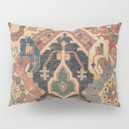 Geometric Leaves I // 18th Century Distressed Red Blue Green Colorful Ornate Accent Rug Pattern Pillow Sham