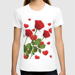 RED  ROSES & VALENTINES HEARTS  DESIGN T-shirt