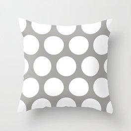 Large Polka Dots: Grey Throw Pillow