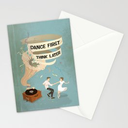 Gramophone couple swing dance Stationery Cards