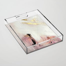 Sunrise [2]: a bright, colorful abstract piece in pink, gold, black,and white Acrylic Tray