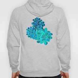 Turquoise succulents Hoody