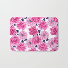 Blush pink hand painted watercolor modern floral pattern Bath Mat