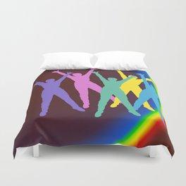 joyful man and rainbow . Art Duvet Cover