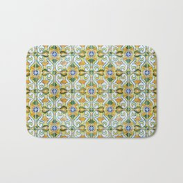 Seamless Floral Pattern Ornamental Tile Design : 9 yellow, green Bath Mat