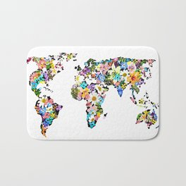 Floral World Map Bath Mat