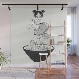 Ramen Noodle Anime Skeleton Girl Wall Mural