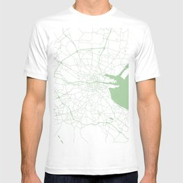 White on Green Dublin Street Map T-shirt