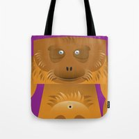 furry Tote Bags featuring Furry Ape by Yay Paul