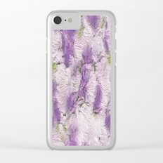 Purple - Lavender Fluffy Floral Abstract Clear iPhone Case