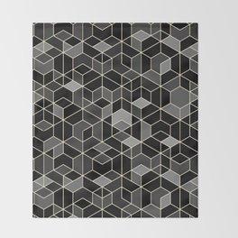 Black geometry / hexagon pattern Throw Blanket