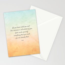 'Do You Know What You Are?' Inspiring Quote by Rumi Stationery Cards