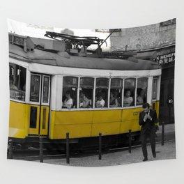 Tram Smoking in Lisbon Wall Tapestry