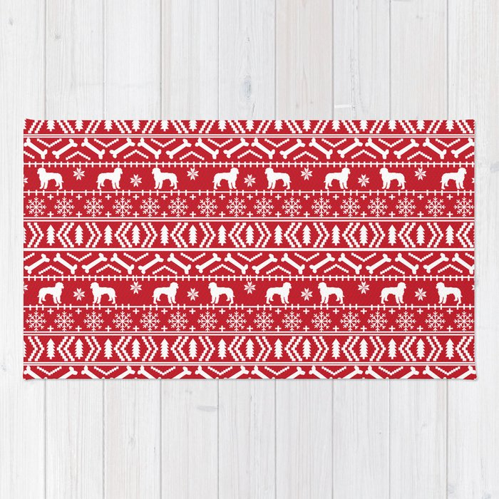 golden doodle fair isle christmas pet pattern minimal christmas sweater gifts rug