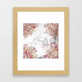 Royals - ruby gems, golden mandala and white grunge Framed Art Print
