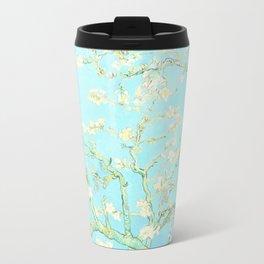 Vincent Van Gogh : almond blossoms Aqua Blue Travel Mug