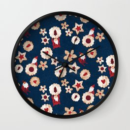 Christmas Cookie Linzer Jam Cookie Helper Elves Wall Clock