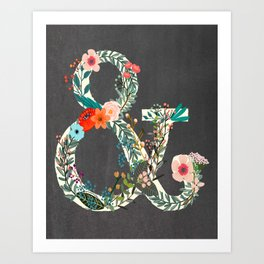 Chalkboard Woodland Ampersand-Whimsical Decor for Kids and Adults Art Print