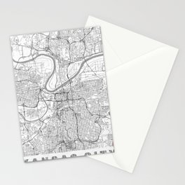 Kansas City Map Line Stationery Cards
