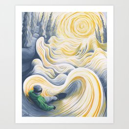 Snowboader in a 'Pillow Paradise' Art Print