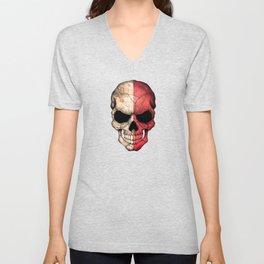 Dark Skull with Flag of Malta Unisex V-Neck