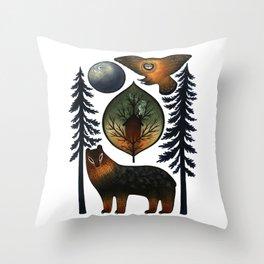 The Bear and the Barn Owl Throw Pillow