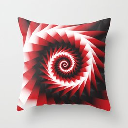 Abstract Spiral Sea Shell 2 - Red, Black and White Throw Pillow