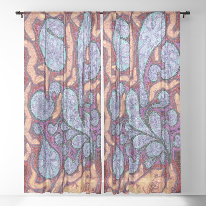 Fingers and Paisley Sheer Curtain