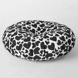Hearts Black Floor Pillow