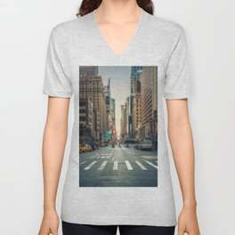 Tilt-shift view of a crosswalk in a New-York city avenue Unisex V-Neck