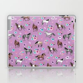 Purple Horse and Flower Print, Hand Drawn, Horse Illustration, Little Girls Decor Laptop & iPad Skin