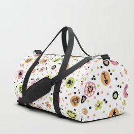 I love Cats - Cat Lovers Heart Flower Meadow - Pink & Spring Green Feline Meow Duffle Bag