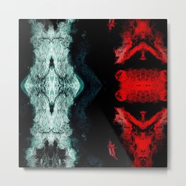 Black White Red Abstract Textured Pattern Metal Print