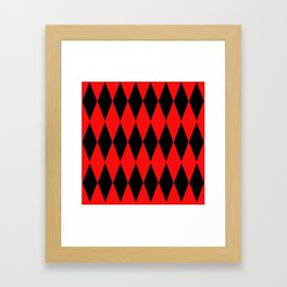 LARGE RED AND BLACK  HARLEQUIN DIAMOND PATTERN Framed Art Print