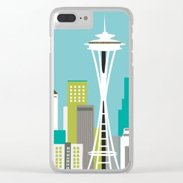 Seattle, Washington - Skyline Illustration by Loose Petals Clear iPhone Case