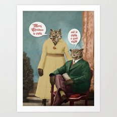 Merry Christmas to Owls, and to Owls a Good Night!! Art Print