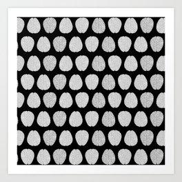 Black and Grey Brains Pattern Art Print