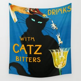 Mix Your Drinks with Catz (Cats) Bitters Aperitif Liquor Vintage Advertising Poster Wall Tapestry