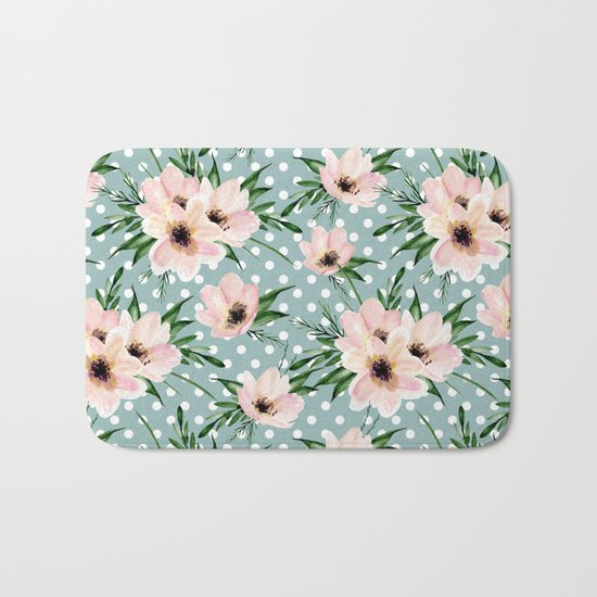 Vintage pattern. Watercolor flowers Bath Mat