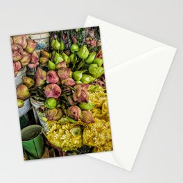 Lotus Flowers for Sale II at Central Market, Phnom Penh, Cambodia Stationery Cards