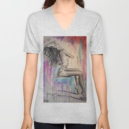 Woman Figure Painting sensual charcoal Unisex V-Neck