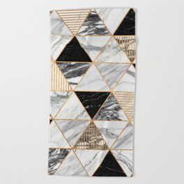 Marble Triangles 2 - Black and White Beach Towel