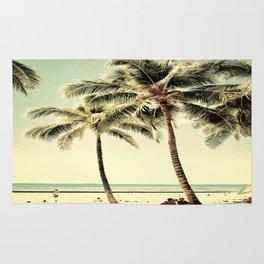 Retro Vintage Palm Tree with Hawaii Summer Sea Beach Rug