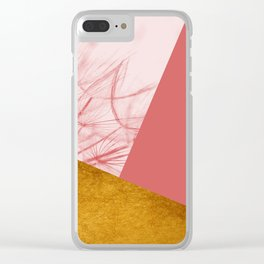 Dandelion Pink Gold Collage Clear iPhone Case