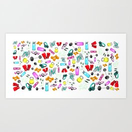 Work Out Items Pattern Art Print