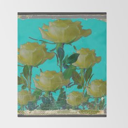 SHABBY CHIC TURQUOISE ANTIQUE IVORY YELLOW ROSE GARDEN Throw Blanket